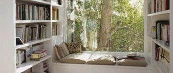 读书小角落 利用飘窗空间打造书柜