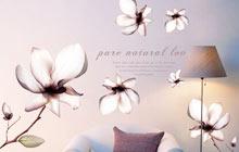 盛开的玉兰花 充满诗意的卧室墙贴