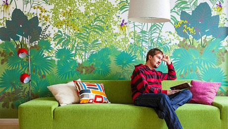 唯美沙发背景墙 17款手绘背景墙设计